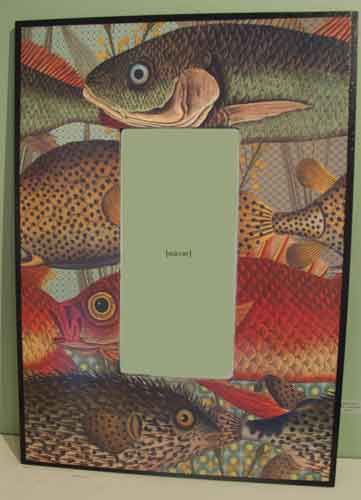 Vertical Large Fish Mirror – Decoupage by Barby Almy
