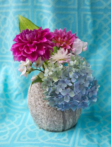 Fall Flowers on Blue (Vertical) – Photography by Barby Almy