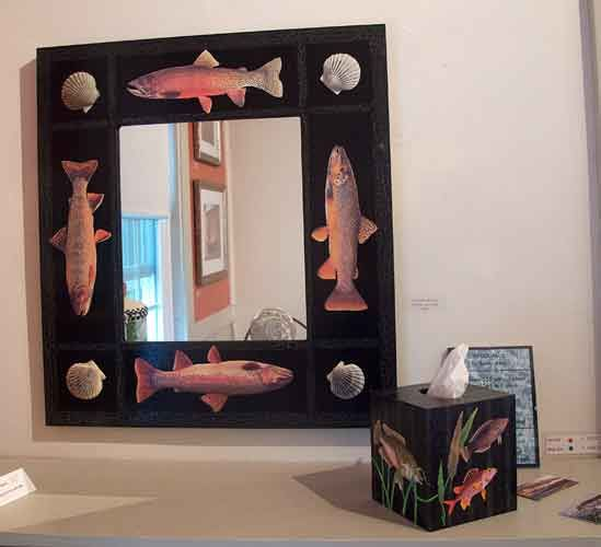 Fish and Scallop Mirror, Fish Tissue Box – Decoupage by Barby Almy