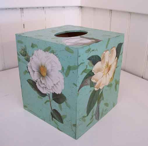 Lt Green Flower Tissue Box – Decoupage by Barby Almy