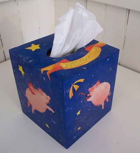 """When Pigs Fly"" Tissue Box – Decoupage by Barby Almy"