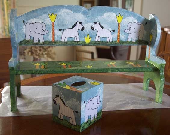 Bench and Tissue Box – Decoupage by Barby Almy