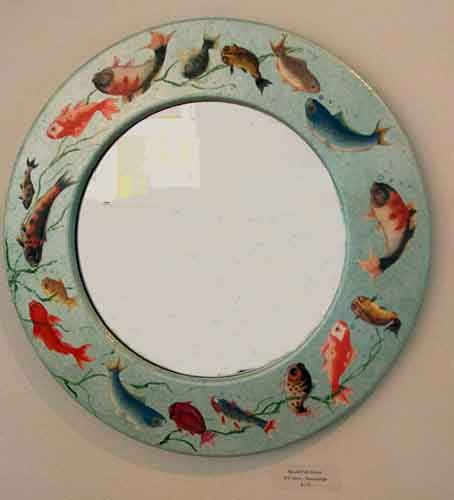 Round Fish Mirror – Decoupage by Barby Almy
