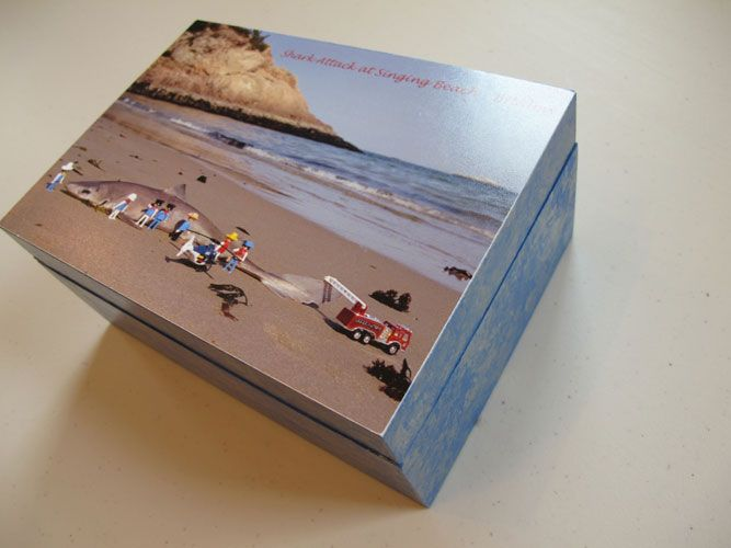 Shark Attack at Singing Beach Box – Decoupage by Barby Almy