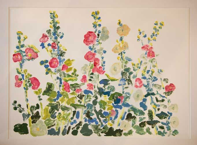 Hollyhocks – Monotype by Kathy Connolly
