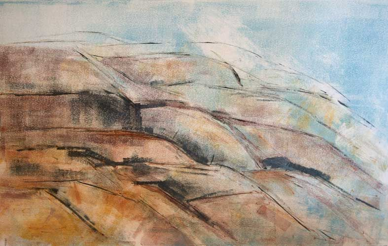 Rocky Shore – Monotype by Kathy Connolly
