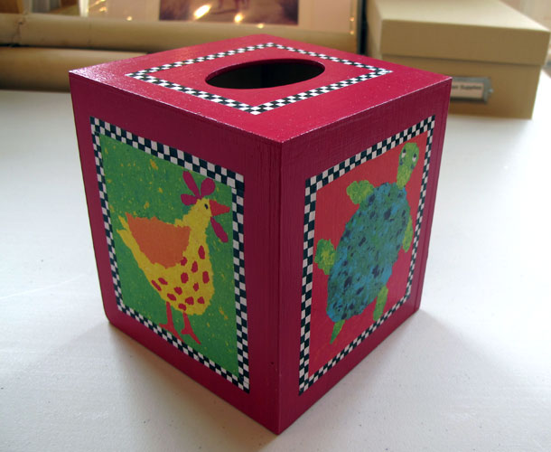 http://www.beachstreetstudios.com/artists/barby-almy/photo-decoupage/magenta-tissue-box-decoupage-by-barby-almy/