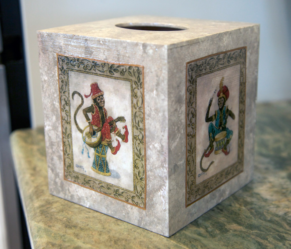 http://www.beachstreetstudios.com/artists/barby-almy/photo-decoupage/monkey-tissue-box-decoupage-by-barby-almy/