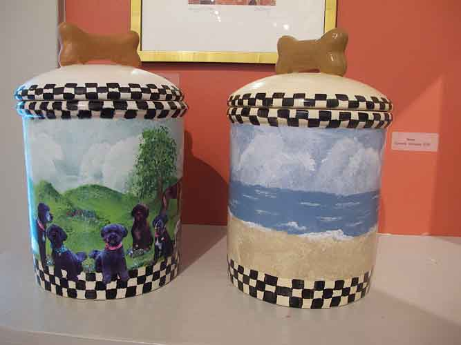 http://www.beachstreetstudios.com/artists/barby-almy/photo-decoupage/dog-treat-jars-decoupage-by-barby-almy/