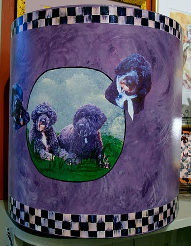 http://www.beachstreetstudios.com/artists/barby-almy/photo-decoupage/wastebasket-by-barby-almy/